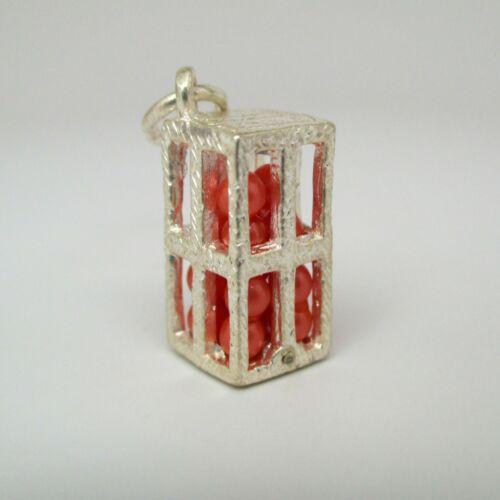Sterling silver orange crate box charm vintage # 161s