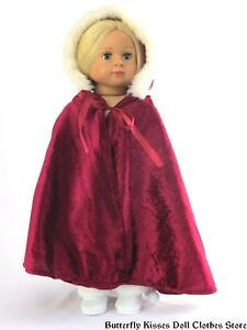 afe92cc34ceb Red Burgundy Hooded Cape w/ Fur Trim 18 in Doll Clothes Fits ...