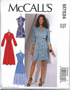 Details about MCCALL'S SEWING PATTERN 7534 MISSES 6 14 MOCK WRAP DRESS & MAXI SLEEVE OPTIONS