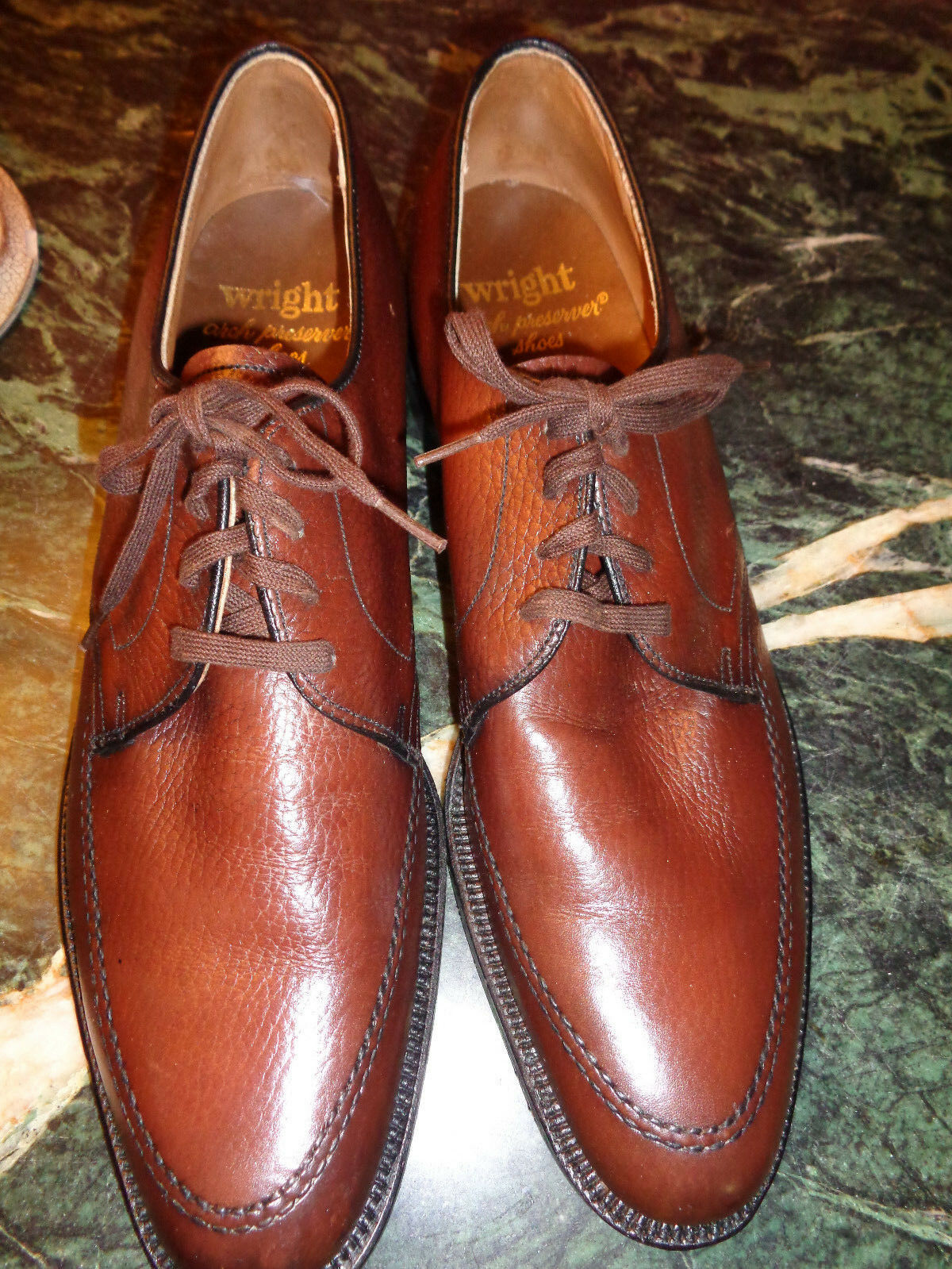Uomo WRIGHT brown 9.5AAA pebbled leather oxfords  w/arch preservers  NEW NO box