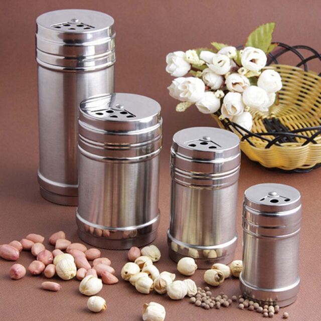 Spice Salt Pepper Herb Shaker Jar Toothpick Storage Bottle Stainless Steel AU*