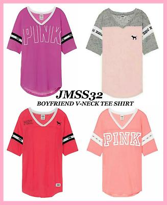 Victoria/'s Secret V-Neck Boyfriend T-Shirt Oversized Jersey Tee Coral PINK Sz S