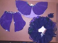 Flocked Purple Tails Tap Skirt And 3 Color Tutu W/sequin Trim Girls Dressup