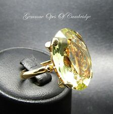 18ct Gold Oval cut Citrine Solitaire Ring Size P 7.4g 15 carats