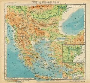 Cartina Fisica Europa Balcanica.Dettagli Su Carta Geografica Antica Penisola Balcanica Grecia Paravia 1941 Old Antique Map