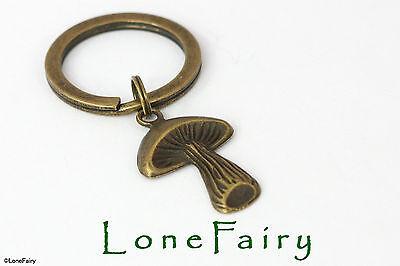 Bronze Mushroom Toadstool Metal Keyring Steampunk Key Chain Nature Alice