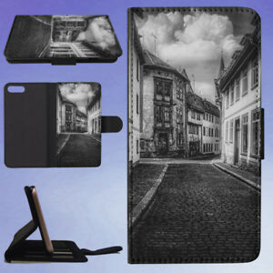 WHITE-AND-BLACK-HOUSE-PAINTING-FLIP-WALLET-CASE-FOR-APPLE-IPHONE-PHONES
