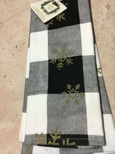 RIDGEFIELD HOME KITCHEN  TOWELS BUFFALO  BLACK WHITE PLAID SNOW 18 X 28  NWT 2