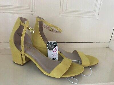 Lime Yellow Block Heel Sandals Wide Fit