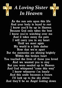 A Loving Sister In Heaven Memorial Graveside Poem Card With