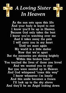 A Loving Sister In Heaven Memorial Graveside Poem Card ...