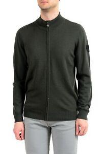 Emporio-Armani-EA7-034-Ski-034-Men-039-s-100-Wool-Green-Full-Zip-Sweater