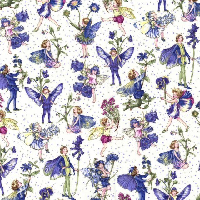 Fat Quarter Periwinkle Petites Flower Fairy Fairies 100% Cotton Quilting Fabric