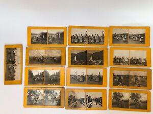 13 PHOTOS STEREOSCOPIQUES MANOEUVRES ALGERIE CHASSEURS AFRIQUE ZOUAVES SIP G619