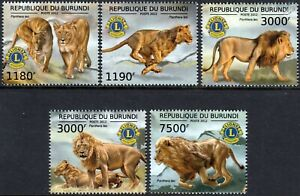 Objectif Lions Club International (panthera Leo) Animal Sauvage Stamp Set (2012 Burundi) Vente De Fin D'AnnéE