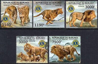 Heerlijk Lions Club International (panthera Leo) Wild Animal Stamp Set (2012 Burundi) Beroemd Voor Geselecteerde Materialen, Nieuwe Ontwerpen, Prachtige Kleuren En Prachtige Afwerking