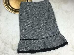 Harolds-Womens-Skirt-Size-0-Black-White-Fitted-Tweed-Silk-Trim-Lined-Career