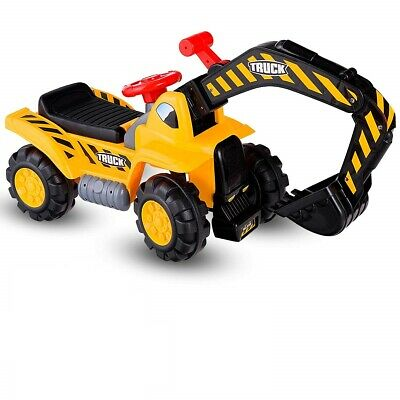 Kids Ride On Excavator Outdoor Bulldozer Digger Scooper Pulling Cart Toys Gift