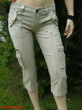 10/6 NEW BEAUTY ANGEL STONE SILVER STUD PATCH POCKET CROPPED CARGO TROUSERS 8
