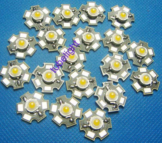 100PCS 3W White High Power LED Light Emitter 6000-6500K with 20mm Star Heatsink