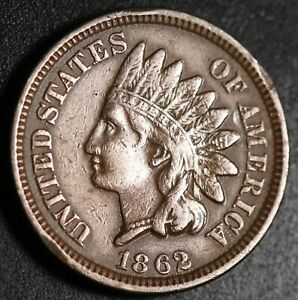 1862-INDIAN-HEAD-CENT-With-LIBERTY-VF-VERY-FINE