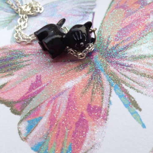 Black Cat Resin Pendant Charm SP Necklace 24/'/' Witch Halloween 3D