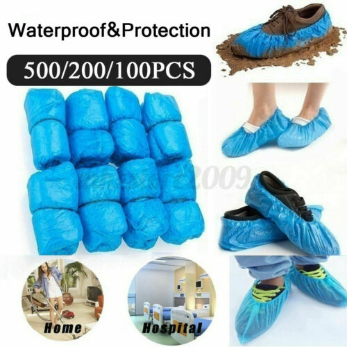100-500Pcs Waterproof Boot Covers Plastic Disposable Shoe Cover Overshoe ZP