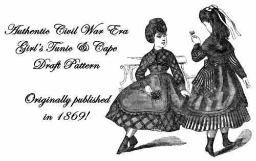 Civil War Victorian Girls Tunic Cape Draft Pattern 1869