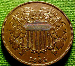 1864-Two-Cent-Piece-2c-HIGH-GRADE-ClVIL-WAR-YEAR-COIN-w-SOLID-DETAILS-22CO