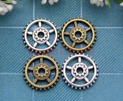 Lot 20pcs Antique Silver//Bronze Lovely Filigree Gear Charms Pendant 17.5mm