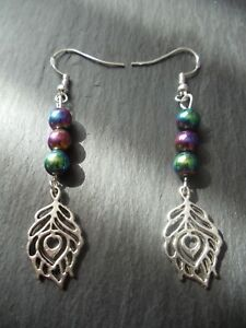 Peacock-Feather-Rainbow-Gemstone-Earrings-925-Sterling-Silver-Boho-Party-Gift