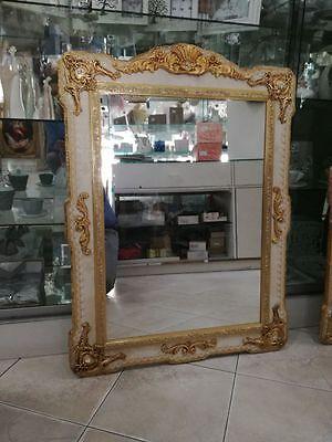 Specchio Specchiera Da Parete In Legno Avorio E Foglia Oro Cristalli Arredo Casa Con Metodi Tradizionali