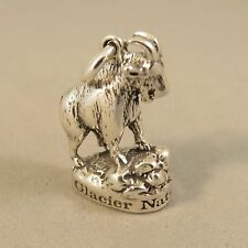 .925 Sterling Silver 3-D GLACIER MOUNTAIN GOAT CHARM NEW National Park 925 TR107