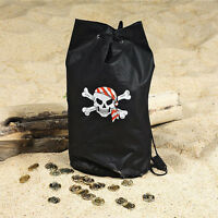 Black Children's Polyester Pirate Skull Loot Backpack Party Favor Bag Lot Of 12