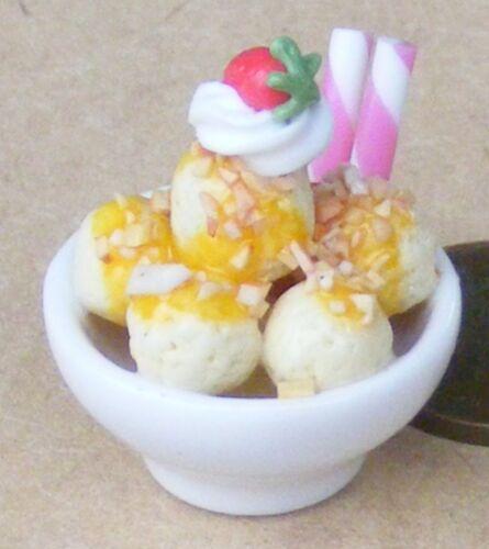 1:12 SCALA gelato in una ciotola di dimensioni familiari tumdee Casa delle Bambole Accessorio i81