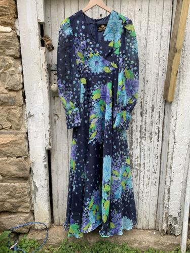 Vintage Floral Maxi Dress ~ Gunne Sax Style ~ Hip… - image 1