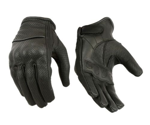 Perforated Racing Womens Soft Leather Motorcycle Gloves Protective Knuckle