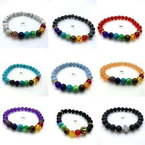 Chakra Bracelet Lava Healing Stones