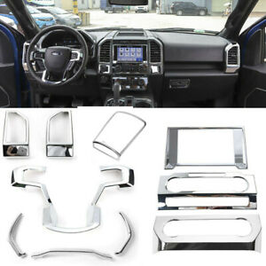 Chrome Interior Decor kit Accessories Air Vent &Console Cover Trim For Ford F150
