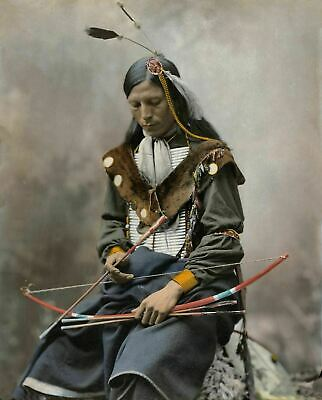 Native Indian Bone Necklace Oglala Lakota Sioux Poster Art Print A3 A4