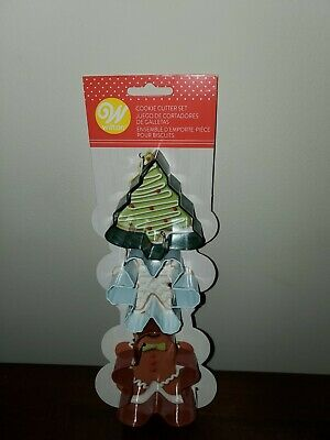Wilton Christmas Cookie Cutter Set 3 NEW Tree Gingerbread Man Snowflake Ornament