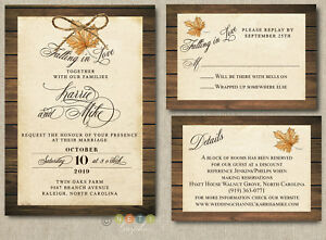 Details About Rustic Autumn Wedding Invitation Fall In Love