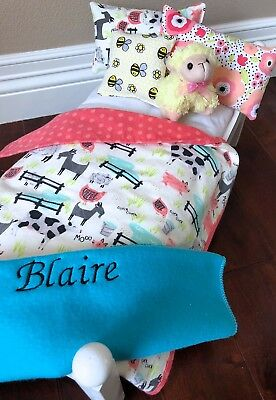 """18"""" Girl 2019 Doll Of The Year Bed Bedding American Made Blaire Personalized High Resilience"""