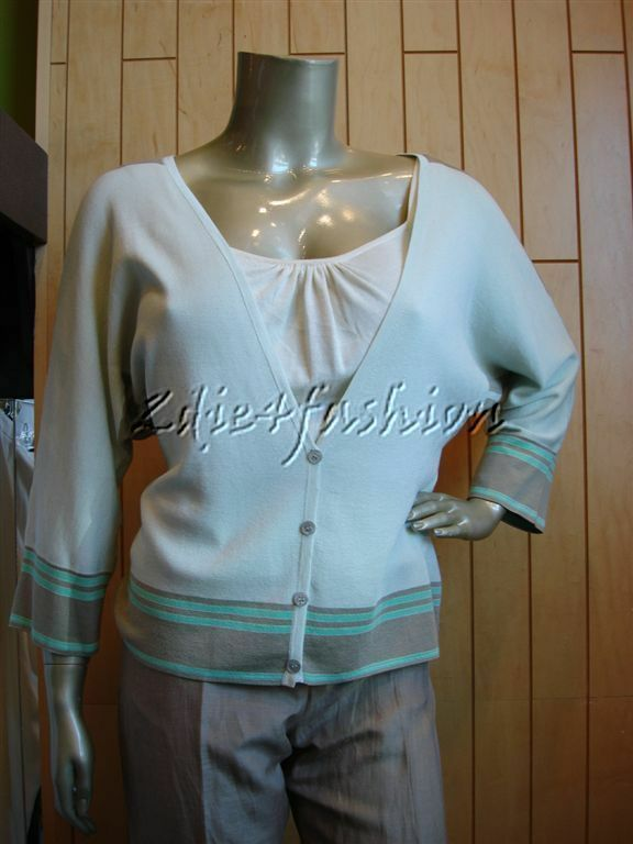 New JIL SANDER Mint Green Seafoam Khaki Stripe Silk Cotton Sweater 12 42