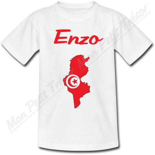 T-shirt Bébé Carte Tunisie avec Drapeau avec Prénom Personnalisé