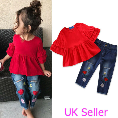 Kids Toddler Baby Girls Outfit Clothes Frill T Shirt Tops+Embroidery Denim Pants