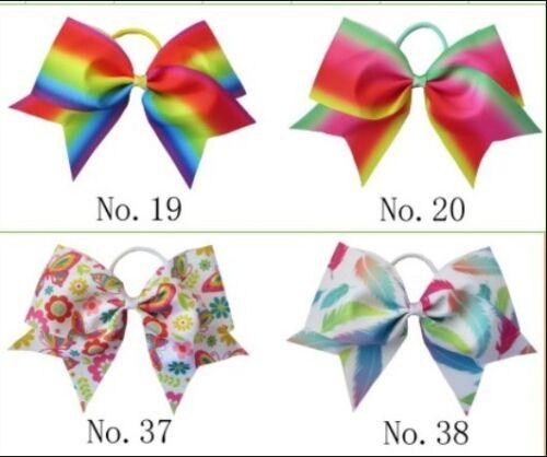 "12 BLESSING Good Girl Rainbow Unicorn 7/"" Cheer Leader Hair Bow Elastic 49 No."