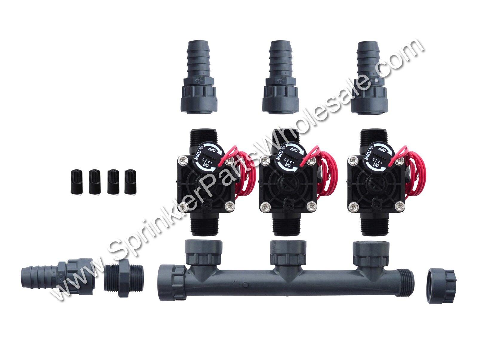 Hunter pgv101-mm 3 Zona Dura colector Válvula Kit C   Control de flujo-Barb 301-010-3
