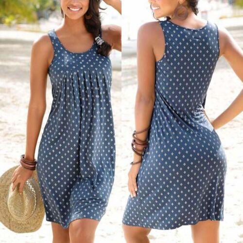Women Sleeveless Short Dress Long Vest Ladies Beachwear BIkini Cover Up Holiday