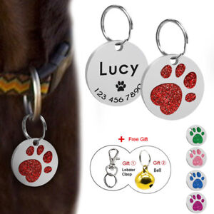 Paw-Glitter-Personalised-Dog-Tags-Disc-Disk-Custom-Cat-Pet-ID-Name-Tag-Engraved